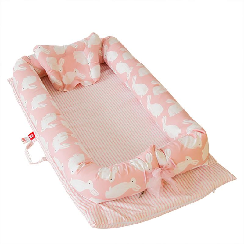 Baby Portable Cribs Bed With Soft Pillow Removable And Washable Isolation Bed Breathable Hypoallergenic Infant Lounger