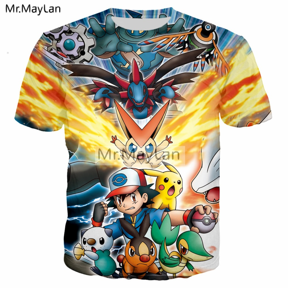 New Pokemon shirt boys sizes XS S M L XL XXL Pokemon pikachu shirt