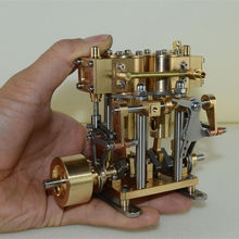 CNC Copper Two Cylinder Reciprocating Steam Engine Model Steam Engine Model Toy Boy Birthday Christmas Gift