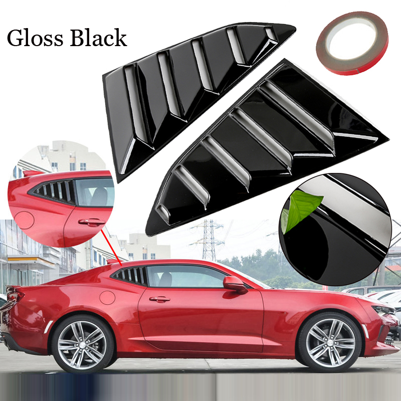 39.5*25.8cm 1 pair Gloss Black PP Rear Side Vents Window Louver Car Scoop Cover For Chevy Camaro 2016 2018 Automobiles Trim