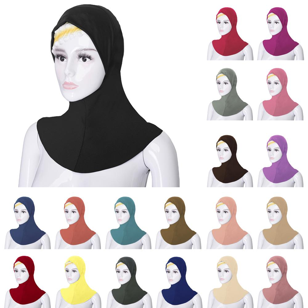 Muslim Women Under Scarf Hat Cap Soft Bone Bonnet Ninja Hijab Islamic Neck Cover Plain Turban Headscarf Amira Bandanas Headwear