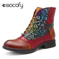 Socofy bottes courtes fourrées femme chaussures Vintage cuir de vachette bottines cuir véritable bottines bohémiennes chaussures décontractées Botas