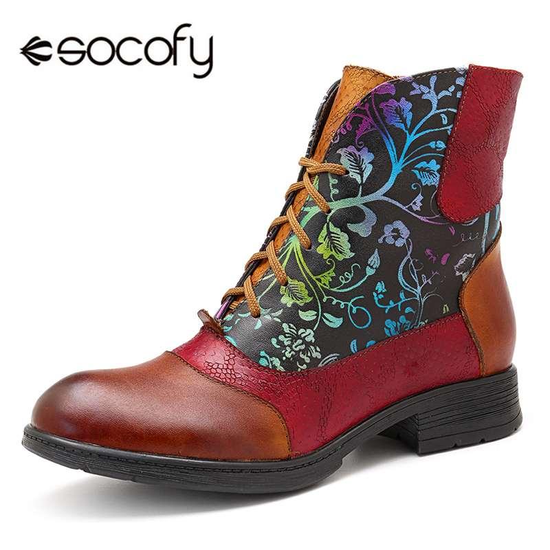 Ayakk.'ten Ayak Bileği Çizmeler'de Socofy Kısa Kürk astarlı çizmeler kadın ayakkabıları Vintage Sığır Derisi Hakiki Deri yarım çizmeler Bohemian Şövalye Patik rahat ayakkabılar Botas'da  Grup 1