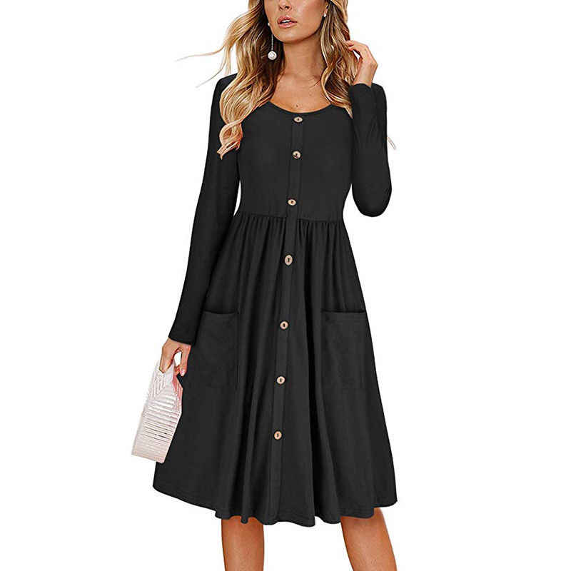 HEE GRAND 2019 Spring Casual Dress Women's O-Neck Button Long Sleeve OL Dresses Pockets A-line Jumper Midi Dress WQL5733