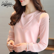 2018 Fashion chiffon women blouse shirt long sleeve pink chi
