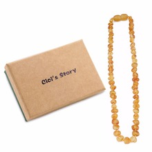 Raw Baltic Amber Teething Necklace for Baby (Unisex)(Lemon Raw)(13 Inches) - Natural Anti Inflammatory Beads