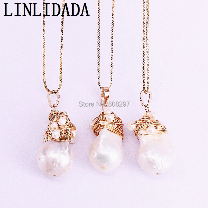 5Pcs Gold Wire Wrap Natural Freshwater Pearls Pendant Necklace Elegant FASHION Jewelry Women Necklace