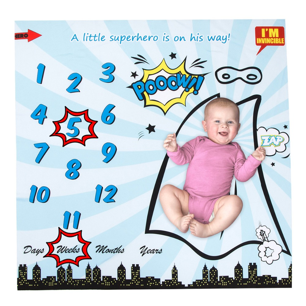 Infant Baby Milestone Blanket Photography Prop Blankets Backdrop Superhero Calendar Bebe Boy Girl Photo Accessories  40*40inch