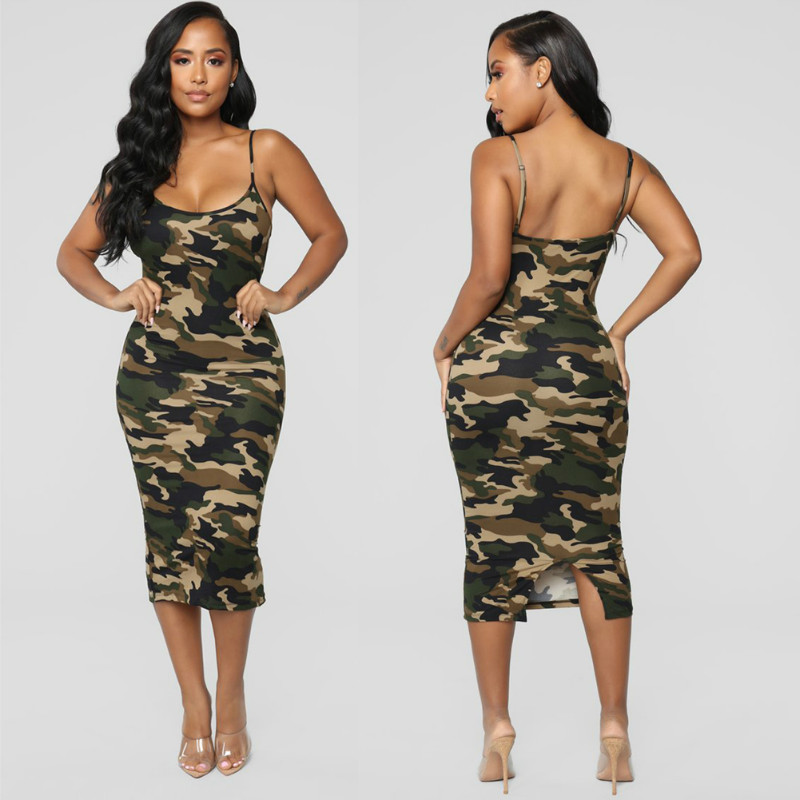 2019 Newest Fashion Summer Dress Fashion Camouflage Womens Bodycon Sleeveless Sundress Ladies Summer Beach Casual Party Dress