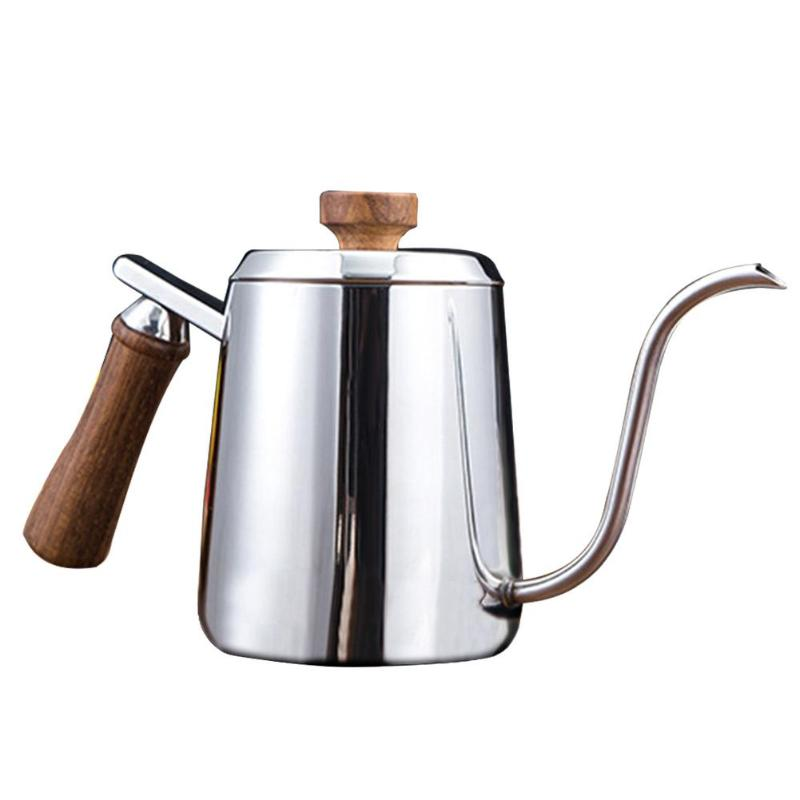 350/600ML 304 Stainless Steel Coffee Pot Gooseneck Long Narrow Spout Wooden Handle Coffee Pot Teapot For Coffeeware