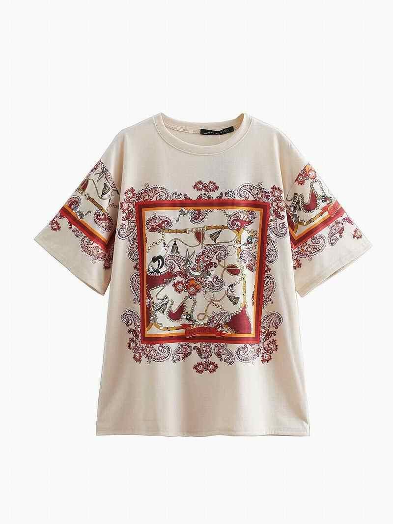 9bdbae0bad0d6 Summer 2019 New Women Tees Cotton Jersey Short Sleeve Cartoon Prints Lady's  Casual Chic Tops Female O-Neck T-shirts