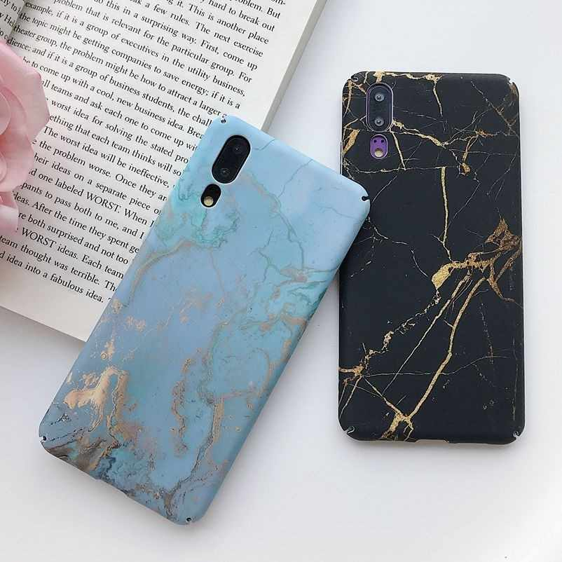 Phone Back Cover For Huawei P20 Mate 20 Pro Lite Nova 4 P Smart 2019 Honor 10 Black Gold Marble Hard Plastic PC Full Case Coque