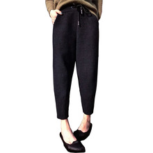Women's Black Woolen Pants 2018 Autumn Winter Korean High Waist Trousers Casual Elastic Waist Loose Harem Pants Plus Size S-5XL цена 2017