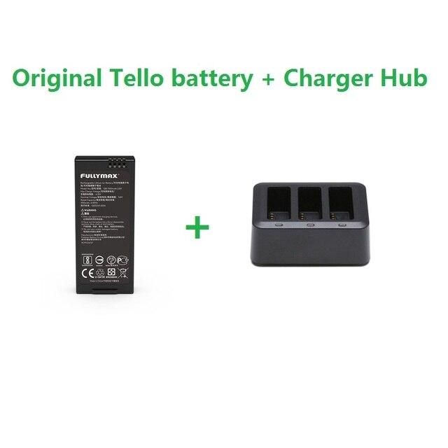 Original Tello Flight Battery & 3in1 Charger Hub 1100mAh 3.8V Batteries Charging Hub For DJI Tello Drone Accessories