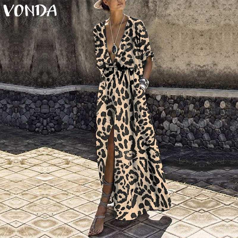 VONDA Women Leopard Print Long Dress 2019 Sexy V Neck Half Sleeve High Waist Split Party Dress Holiday Casual Plus Size Vestidos