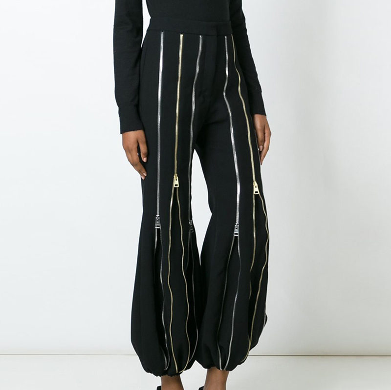 [EAM] 2019 Autumn Winter Woman Personality Stylish New Black Color Spliced Many Zippers High Waist Pleated Flare Pants LE782