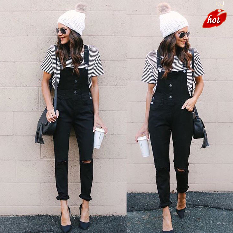 New Black Knee Hole In The Back Pants Skinny   Jeans   Woman High Waist Stretch Capris Ladies   Jean   Femme Plus Size O8R2