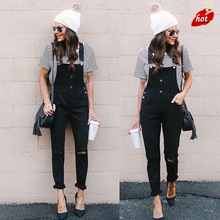 New Black Knee Hole In The Back Pants Skinny Jeans Woman Hig