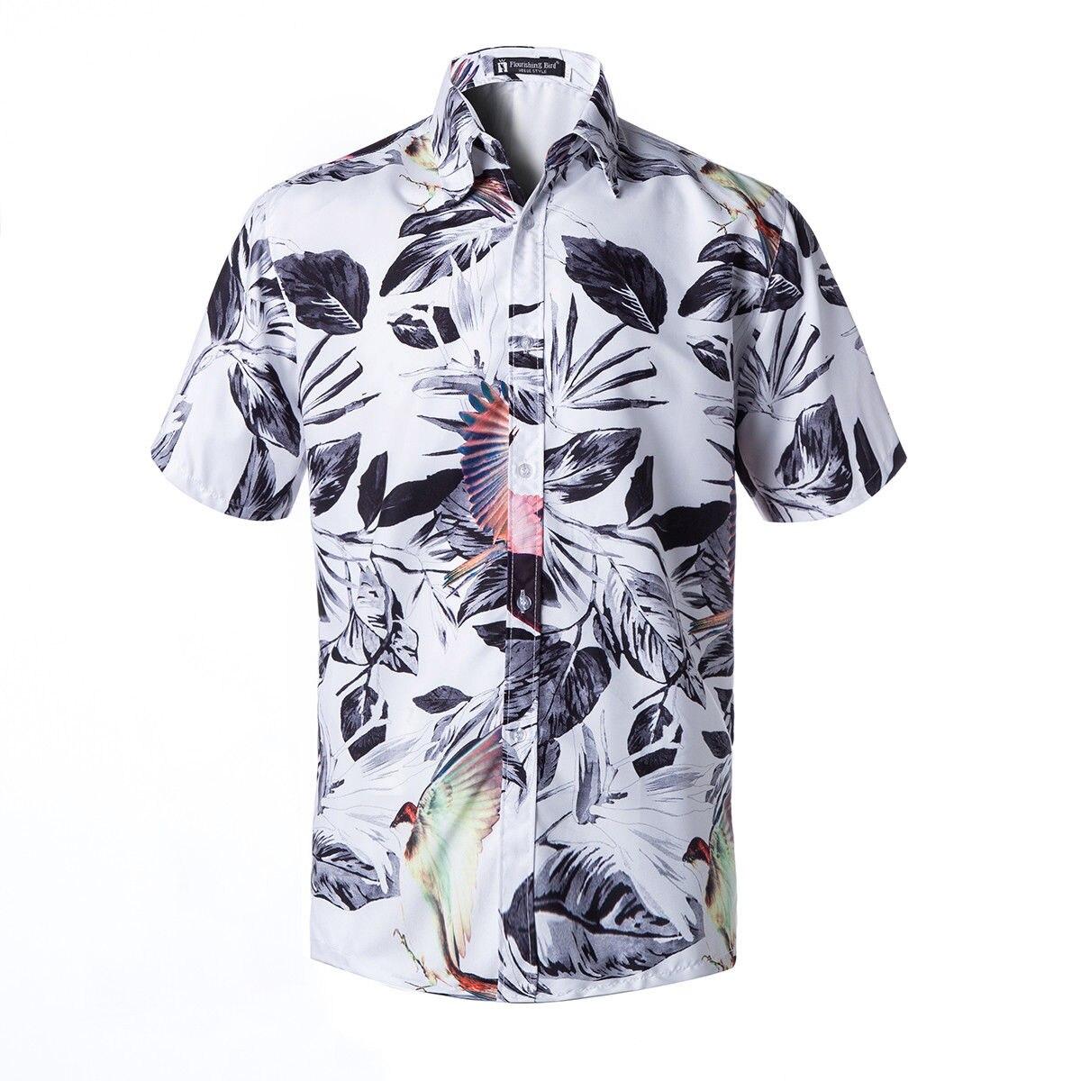 Men Hawaiian Shirt Leopard Printed Collared Fancy Shirt Short Sleeve Holiday Tee