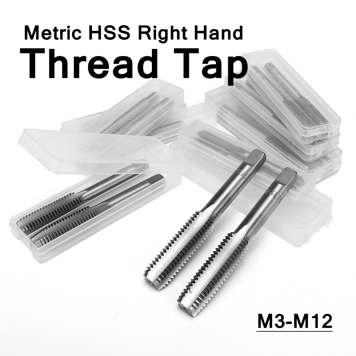 HOT! Screw Thread Taps Set 2PCS M3-M12 Steel High Surface Treatment For DIY Home Building Engineering Machine Drill Hand Tools