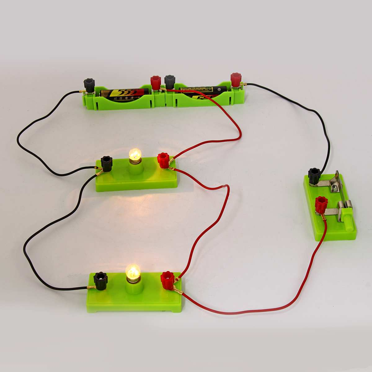 Children Kids School Science Toy Electric Circuit Educational Toys Kit Light Discovery Intelligence Develop Learning Toys Green