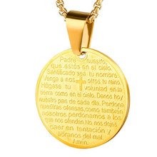 2019 Catholicism Praying Round Tag Pendant Gold Color Stainless Steel Bible Verse Necklace Women & Men Prayer Religious Jewelry недорого