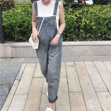 Fashion Women Denim Jumpsuit Ladies Spring Loose Jeans Rompers Female Casual Washed Pocket Overall Playsuit
