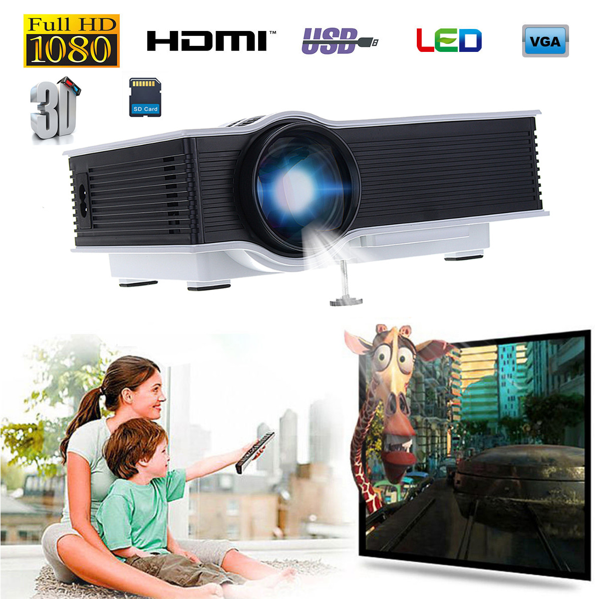 For GIGXON G40 1200 LM 1080P Led Projector Full HD Compatible Home Portable Mini Projector HDMI