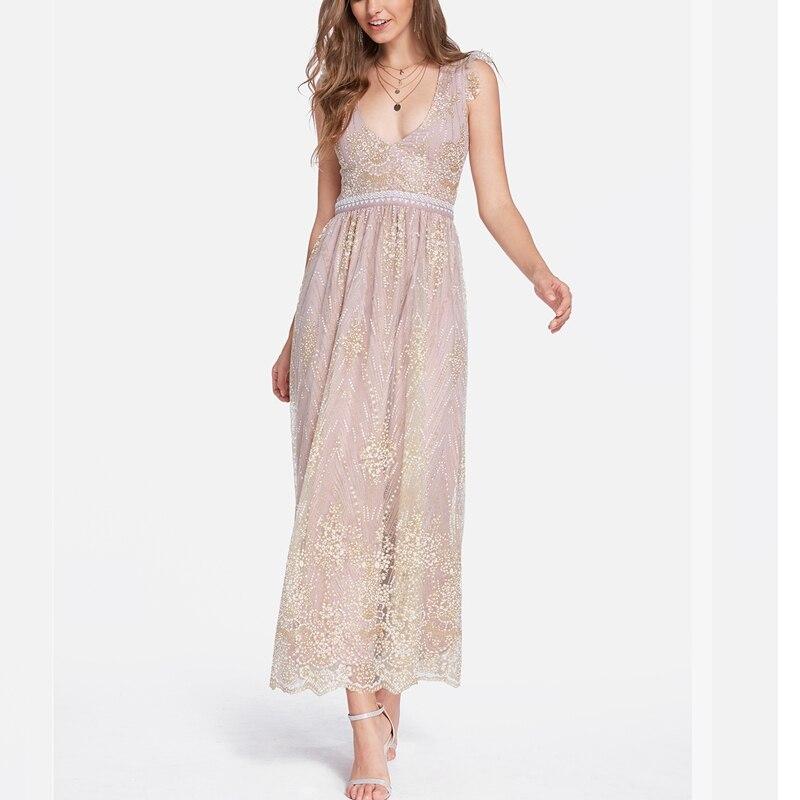 Богемное женское прямое платье сексуальные золотые блестки глубокий v-образный вырез Высокая талия с открытой спинкой без рукавов вечернее...
