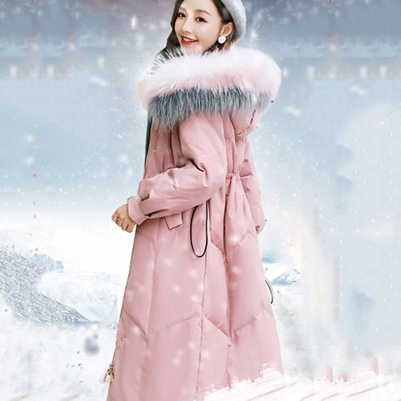 Winter Pink Real Fur Collar Hooded Long   Down   Jacket Female 2019 New Light And Thin Slim Fit White Duck Feather   Coat   Women HJ164