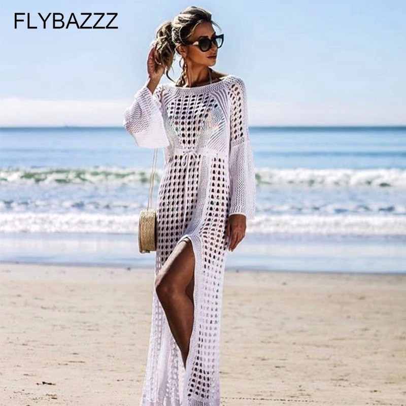 2019 Crochet White Knitted Beach Cover UpS Sexy High Split Dress Tunic Long Pareos Bikinis Swim Cover Ups Robe Plage Beachwear in Cover Ups from Sports Entertainment
