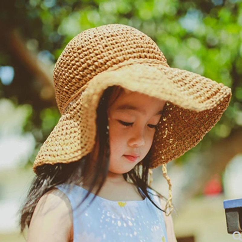 2019 New Girls Hand Made Sun Hat Kids Summer Raffia Straw Hat Big Wing Beach Cap Foldable Breathable Summer Parent-child Hat