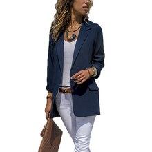 Siyah Blazer sıcak rahat ince basit katı takım Blazer ceket kaban yok düğme büyük boy dış giyim bayan moda şeker renk blazer