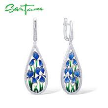 SANTUZZA Gümüş Çiçek Küpe Kadınlar Için 925 Ayar Gümüş Dangle Mavi Petal Küpe Gümüş Parlak CZ Takı El Yapımı Emaye