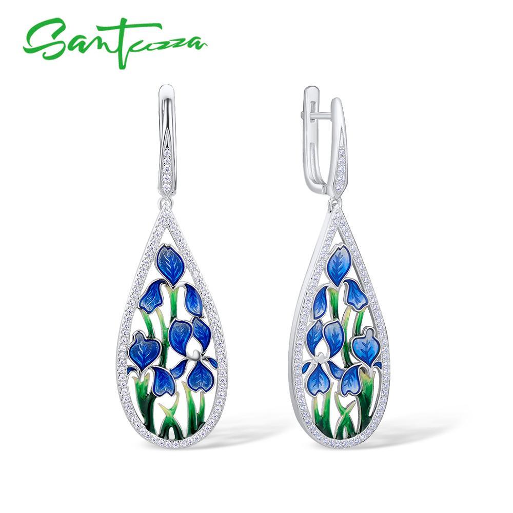 SANTUZZA Silver Flower Earrings For Women 925 Sterling Silver Dangle Blue Petal Earrings Silver Shiny CZ Jewelry Handmade Enamel