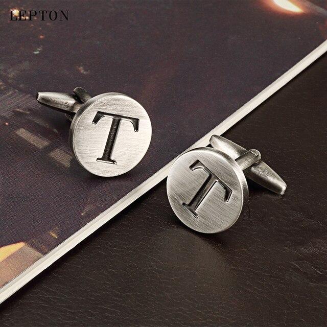Запонки lepton мужские с буквами алфавита классические антикварные