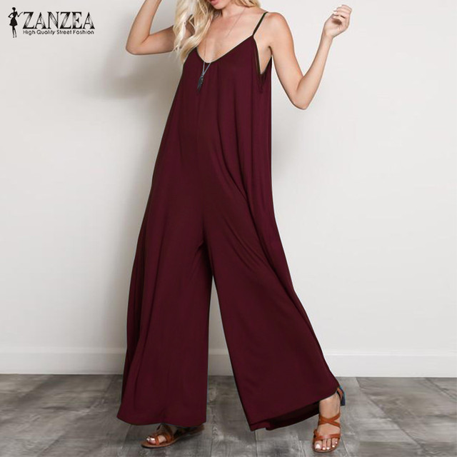 ZANZEA 2019 verano mujer Sexy cuello en V Mono largo Casual suelto monos Mono de pierna ancha Mono monos talla grande 5XL
