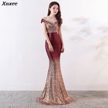 Xnxee Wine Red Gradient Off Shoulder V-Neck Long Mermaid Maxi Club Lady Elegant Party Dress Vestido