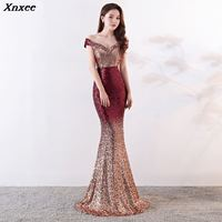 Xnxee Wine Red Gradient Off Shoulder V Neck Long Mermaid Maxi Club Lady Elegant Party Dress Vestido Xnxee