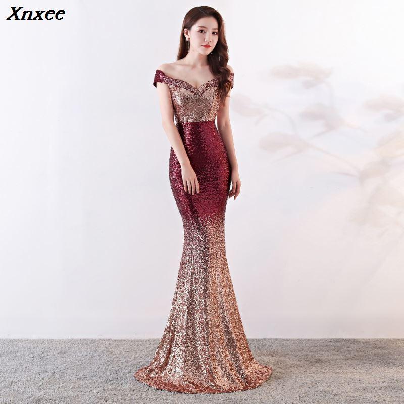 Xnxee vin rouge dégradé épaule dénudée col en v longue sirène Maxi Club dame élégante robe de soirée Vestido Xnxee