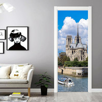 6 Types 200x77cm Paris 3D Door Sticker Mural Waterproof PVC Wallpaper Living Room Bedroom DIY Self Adhesive Wall Mural Decal