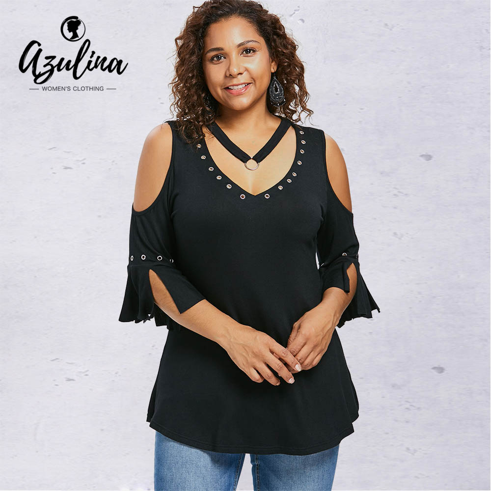Rosegal Plus Size Grommets Detail V Neck T-Shirt Fall Summer Solid Color Three Quarter Long Women T-Shirts Casual Tops Clothing