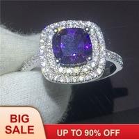 Для женщин Роскошные ювелирные изделия Подушка 3ct фиолетовый 5A кристалл циркона 925 пробы серебро обручение обручальное кольцо для