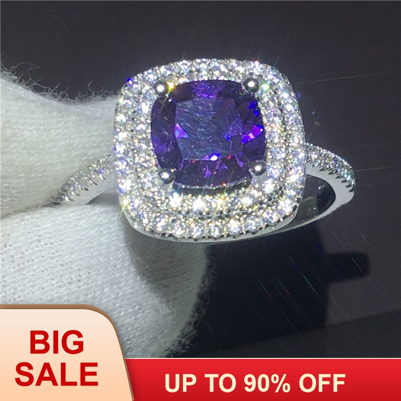 Women Luxury Jewelry cushion cut 3ct Purple 5A zircon crystal 925 Sterling silver Engagement wedding band ring for women Bijoux