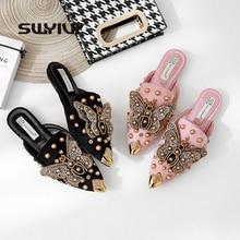 SWYIVY 여성 플랫 뮬 슬리퍼 지적 발가락 2019 패션 리벳 여름 신발 여성 블랙/핑크 신발 여성 럭셔리 하프 슬리퍼