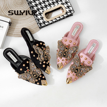 Swyivy sapatos femininos lisos, ponta fina 2019, rebite, sapatos, mulheres, preto/rosa, de luxo, meia chinelos