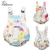 Детская летняя одежда, цветочный Детский комбинезон в виде животного для новорожденных девочек, спортивный костюм, летний костюм с открытой спиной без рукавов, 0-24 месяца