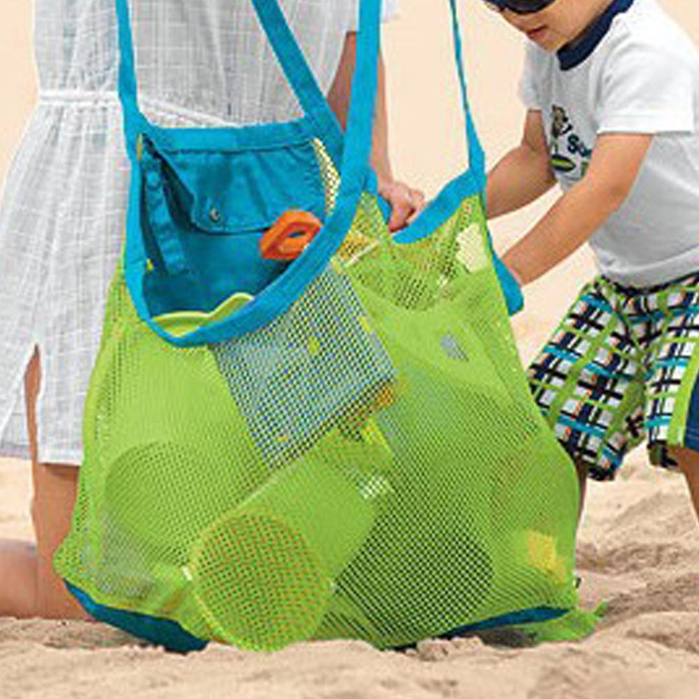 Portable Aurora Gadgets Large Mesh Beach Swimming Bag Outdoor Sundries Storage Mesh Bag Children's Beach Toys Sand Dredging Tool