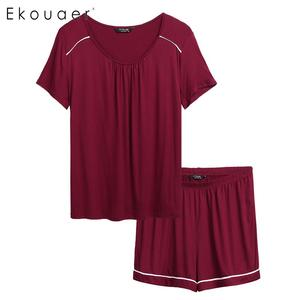 Image 1 - Ekouaer Plus Size Pajamas Set Nightwear Women Short Sleeve Elastic Waist  Shorts Sleepwear Pajama Set Two Piece Loungewear Suit