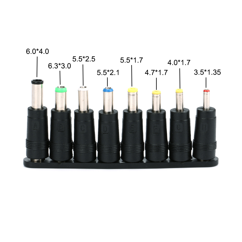 8pcs Universal Laptop DC Power Supply Adapter Connector Plug AC DC Jack Charger Connectors Laptop Power Adapter Conversion Plug